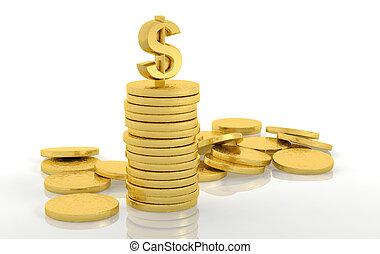 金, コイン, ドル, 隔離された, 印, 白, 山