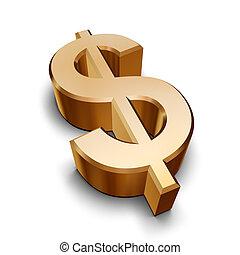 金, シンボル, ドル, 3d