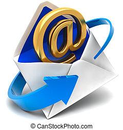 金, シンボル, 封筒, 電子メール, メール, 来る, から