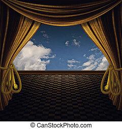 金, ステージ, カーテン