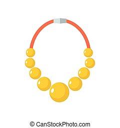 金, ビーズ, 金, gorget, isolated., バックグラウンド。, necklace., 白