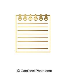 金, -, ベクトル, らせん状に動きなさい, アイコン, イラスト, ノート