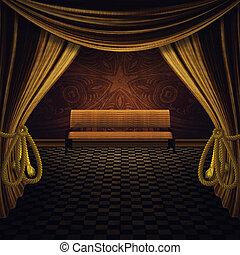 金, ベンチ, カーテン, ステージ
