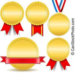 金, メダル