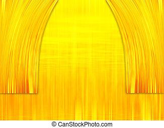 金, 劇場, 背景。, 金, カーテン, 抽象的な 場面, 背景