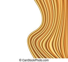 金, 抽象的, 布, ベクトル, 贅沢, 背景, wave.