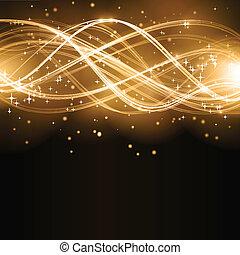 金, 抽象的, 波, 星, パターン