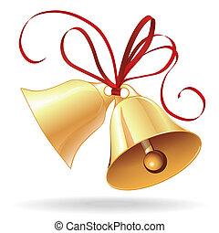 金, 結婚式, 弓, クリスマス, 赤, 鐘, ∥あるいは∥