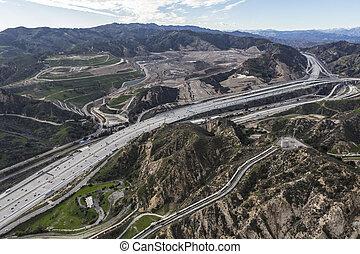 金, 航空写真, 高速道路, los, 州, 5, パス, newhall, 光景