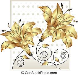 金, 花, デザイン, 空想