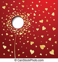 金, 花, 抽象的, バックグラウンド。, 心, 赤