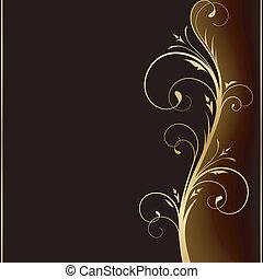 金, 要素, 暗い, 優雅である, デザイン, 背景, 花