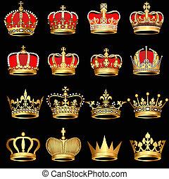 金, 黒い背景, 王冠, セット