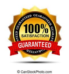金, 100%, guaranteed, イラスト, ラベル, 満足, ベクトル, 赤いリボン