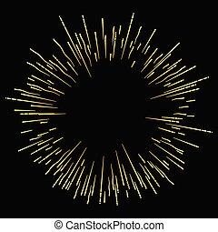 金, firework., 黒い背景, 休日, 光沢がある