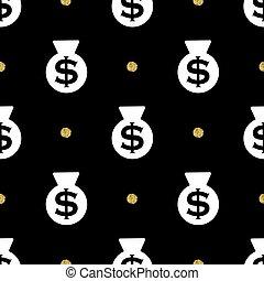 金, seamless, きらめき, 袋, ドル, パターン, 点, 背景, お金