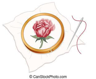 針先, 赤, 刺繍, バラ
