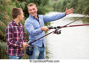 釣り, 川, 息子, 父