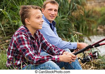 釣り, 息子, 川, 父