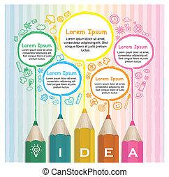 鉛筆, カラフルである, 創造的, infographic, テンプレート, 線画