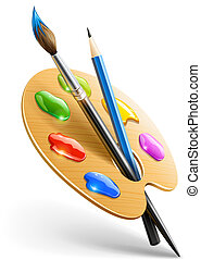 鉛筆, パレット, 芸術, ペンキ ブラシ, 道具, 図画