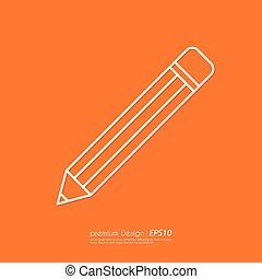 鉛筆, ベクトル, 線である, イラスト, アイコン