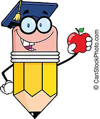 鉛筆, 保有物, 赤いリンゴ