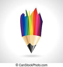 鉛筆, 創造的, カラフルである, アイコン