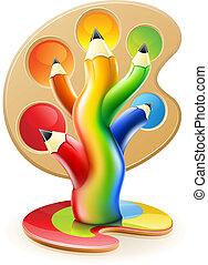 鉛筆, 概念, 芸術, 色, 木, 創造的