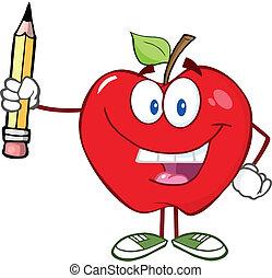 鉛筆, 赤いリンゴ, 持ちこたえる