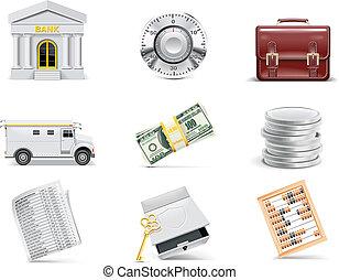 銀行業, set., ベクトル, オンラインで, アイコン