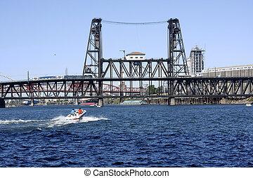 鋼鉄, 橋, 渡ること, ボート