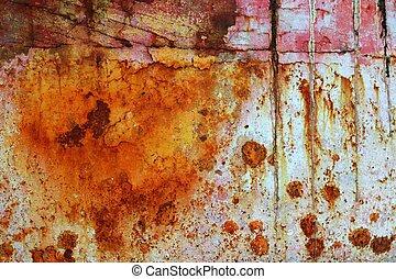 鋼鉄, 酸化させられた, グランジ, 手ざわり, ペンキ, 錆ついた, 鉄, 年を取った