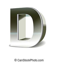 鋼鉄, 3d, d, 手紙, 銀