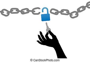 錠を開けなさい, キー, 無料で, 錠, 鎖, 人, 手