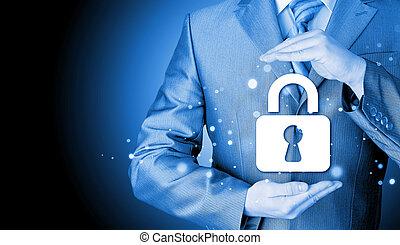 錠, セキュリティー, 概念, 保護しなさい, ビジネスマン