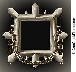 鎖, フレーム, とげとげである, 金属, 錆ついた, ボーダー