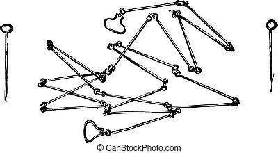 鎖, engraving., 型, 測量技師