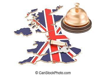 鐘, イギリス, concept., ホテル, イギリス, レンダリング, 旗, キー, レセプション, 予約, 3d
