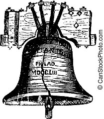鐘, 彫版, フィラデルフィア, アメリカ, 型, ペンシルバニア, 自由