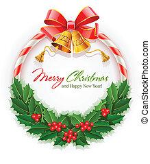 鐘, 花輪, クリスマス, 金船首