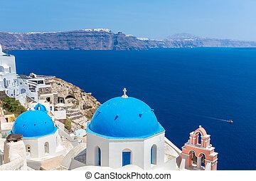 鐘, santorini, タワー, 島, ギリシャ語, キューポラ, crete, 海, 古典である, 島, 光景, spinalonga, 地中海, greece., ほとんど, 有名, 教会, 正統