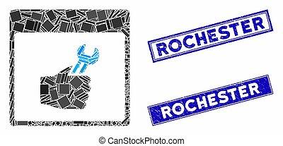 長方形, カレンダー, ロチェスター, ページ, 手, 傷付けられる, スタンプ, スパナー, サービス, モザイク