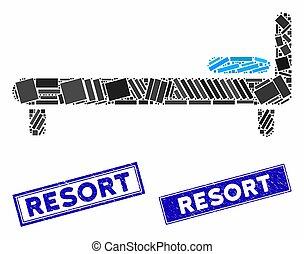 長方形, グランジ, ベッド, リゾート, 透かし, モザイク