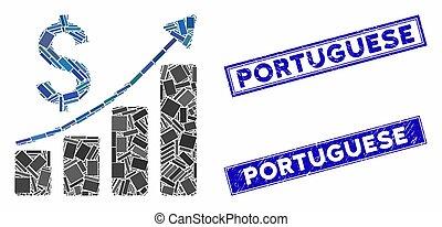 長方形, 販売, 成長, スタンプ, チャート, 苦脳, ポルトガル語, モザイク