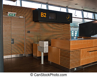 門, 空港, カウンター, チェックイン, フライト