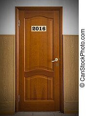 閉じられた, 木製である, オフィス, 数, ドア, 2016.