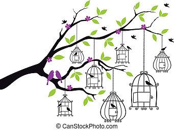 開いた, ベクトル, 木, 鳥かご