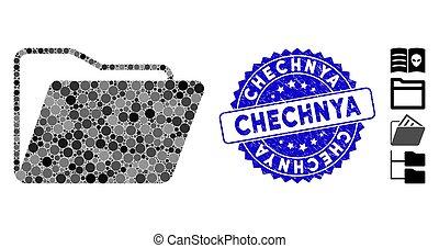 開いた, モザイク, フォルダー, chechnya, アイコン, 切手, 苦脳
