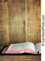 開いた, 本棚, 古い, グランジ, 効果, 聖書
